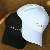 "SIMPLE - ""YOUTH"" Summer Gift Retro Embroidery Baseball Cap Unique Casual Hat a12478"