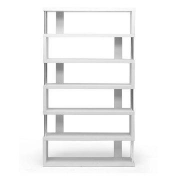 Baxton Studio Barnes White Six-Shelf Modern Bookcase Set of 1