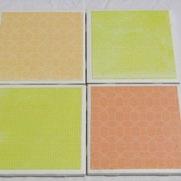 4 Tile Coasters in Summertime Haze Theme