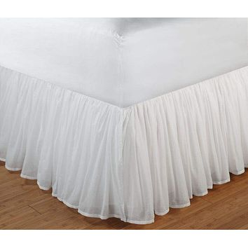 Greenland Home Fashions Accessories Collection Cotton Voile White Color Queen Bed Skirt