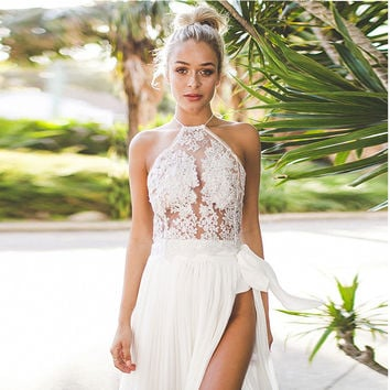 Fashion Retro Female Embroidery Hollow Lace Gauze Sleeveless Hanging Neck Halter Crop Top