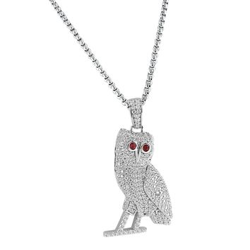 """Custom 14k White Gold Finish Iced Out Owl Ruby Eye Silver Pendant Free 24"""" Steel Box Chain"""