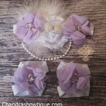 Beautiful Fancy Purple And White Chiffon Pearl Bow And Feather Headband and Barefoot S