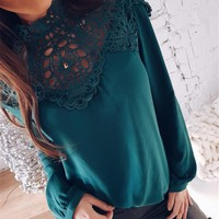 Green Long-Sleeved Lace Cutout Chiffon Blouse