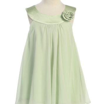 Girls Green Chiffon Shift Dress with Satin Trimmed Bodice 2T-14