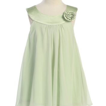 Girls Green Chiffon Shift Dress with Satin Trimmed Yoke Bodice 2T-14