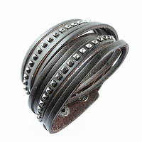 Fashion Punk Rivets Adjustable Leather Wristband Cuff Bracelet - Great for Men, Women, Teens, Boys, Girls 2540S