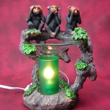 Monkeys Table Fragrance Aroma Lamp Oil Diffuser Wax Tart Candle Warmer Burner Home Decor