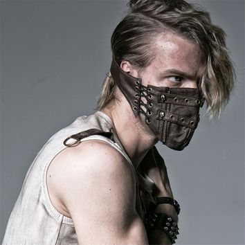 Steampunk Gothic Wash Pu Leather Face Mask Men Women Rivet Skull Anti-frog Masks Lace-up Cycling Mask