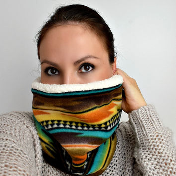 Cozy Fleece Cowl | Southwestern Tribal & White Sherpa | Kindred Spirit Collection
