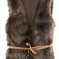 ROMWE | Fake Fur Belted Brown Vest, The Latest Street Fashion