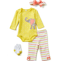 Starting Out Newborn-9 Months 4-Piece Elephant-Appliqued Layette Set | Dillards