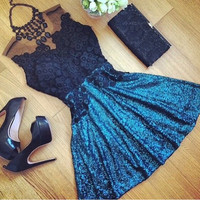 Lace And Mesh Embroidered Sleeveless Mini Dress