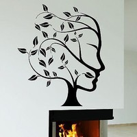Wall Decal Tree Nature Abstract Woman Face Vinyl Stickers Art Mural Unique Gift (ig2552)