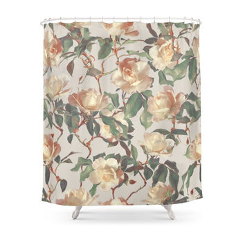 Society6 Soft Vintage Rose Pattern Shower Curtains