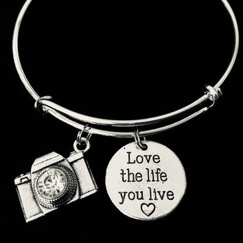 Love the Life You Live Camera Charm Bracelet Silver Expandable Adjustable Bangle Photographer Gift One Size Fits All