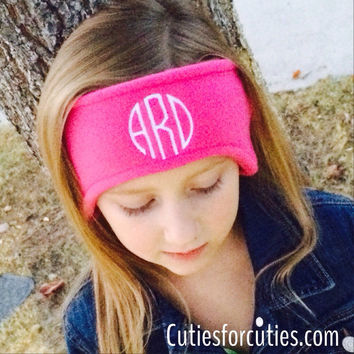 Monogrammed Fleece Headband. Fleece ear warmer. Black Friday Cyber Monday Sale