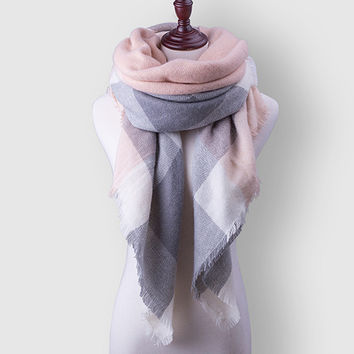 Za Plaid Women Scarf Warm Winter Scarf For Women's Blanket Shawls Soft Cashmere Scarf Scarves Large Luxury Brand Free Shipping