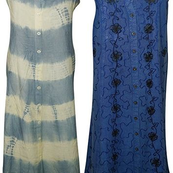 Mogul Interior Womens Summer Dresses Button Down Sleeveless Maxi Dress M Wholesale Lot Of 2