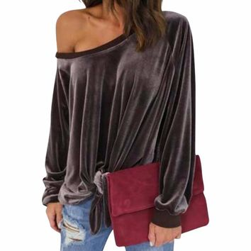 Women's Coffee Brown Velvet Off the Shoulder Long Sleeve Blouse with Front Tie