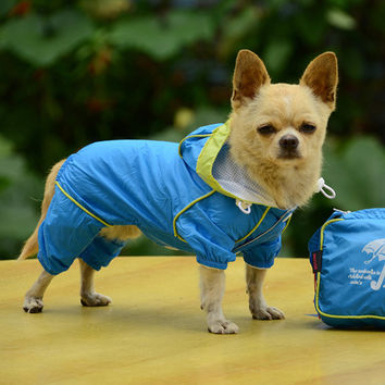 Pet Puppy Dogs Clothes Hooded Raincoat Waterproof Slicker Dust Coat Jumpsuit Dog Apparel Free Shipping