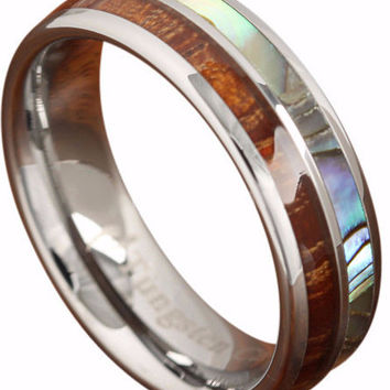 Koa Wood Abalone Tungsten Two Tone Wedding Ring Half Wood Shell 6mm