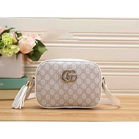 Gucci Women Tassel Metal GG Logo Leather Shoulder Bag Zipper Crossbody Satchel White I-RF-PJ