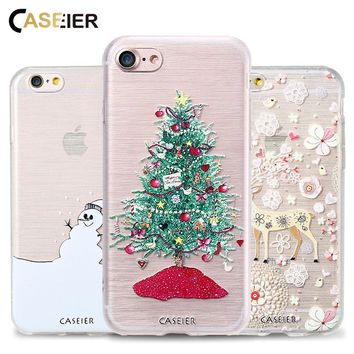 CASEIER Christmas Series Phone Case For iPhone 7 7 Plus 3D Relief Patterned Cover For iPhone X Holiday gifts Capa Shell Funda