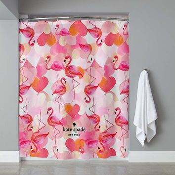 Pink Flamingo Kate Spade011 Shower Curtain High Quality 60 x 72 Limited Edition