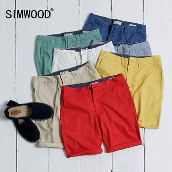SIMWOOD Brand Clothing Mens Shorts Summer Fashion Casual Solid Cotton Slim Fit Short Pants Plus Size