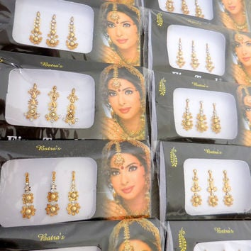 12 Long Silver/Gold/Black Indian Wedding bridal Bindi,Wholesale bindi,Face jewel,Bellydance tikka,Gold Bindi Stickers,Black Bindi USA,UK