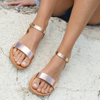 Sandals,Greek sandals,Leather sandals,Ankle strap sandals,Handmade women shoes,Women sandals,Rose gold,APHRODITE