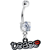 Double Clear Gem Tease Kiss Dangle Belly Ring | Body Candy Body Jewelry