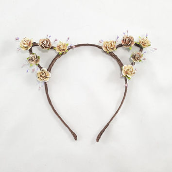 Vintage Paper Floral Crown Cat Ears - Cat Ears Headband - Bohemian Cat Ears -Custom Cat Ears -Kawaii Cat Ears -Adult Cat Ears -Girl Cat Ears