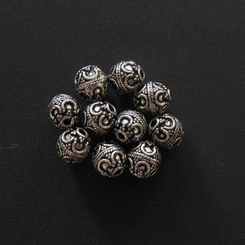 Sterling silver bead - oxidized bead - round - oval bead  - 925 silver -  metal bead - supplies - 9.5x8.5 mm - 1 pc