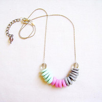 Mint Strawberry Smoothie Geometric Necklace - Pastel Color Block -mint, pink, grey - Rare Diamonds Collection