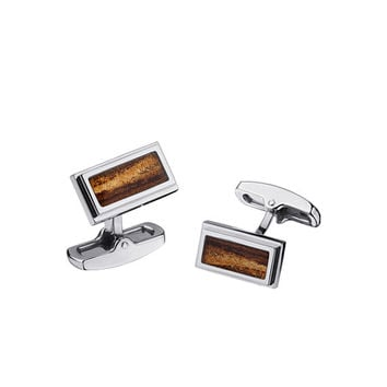 Cuff Links with In Laid Wood - Stainless Steel in Color Variety - Matching Other Pieces