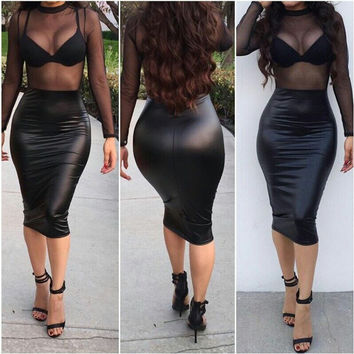 Black Mesh Sleeve PU Leather Midi Dress