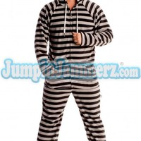 Black Stripes Hooded Adult Pajamas - Hooded Footed Pajamas - Pajamas Footie PJs Onesuits One Piece Adult Pajamas - JumpinJammerz.com
