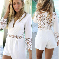 White Floral Pattern Crochet Long Sleeve Romper