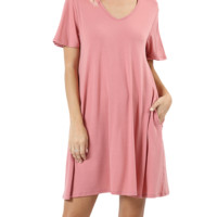 Women Short Sleeve Round Neck Long Tunic Top with Side Pockets and Back Tie Choker