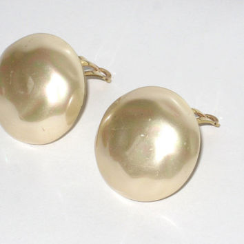 Vintage Carolee Earrings Faux Baroque Pearl Clip Earri