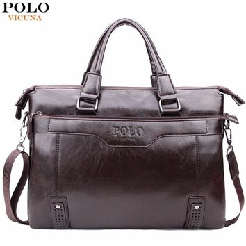 High Capacity Hollow Out Bottom Men's Leather Briefcase Bag For 14'' Laptop Vintage Business Leather Mens Handbags