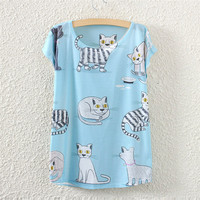 White Short Sleeve Black&White Cat Print T-Shirt