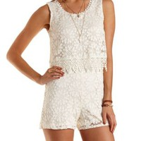 Ivory Layered Crochet Romper by Charlotte Russe