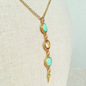 Gold Ring Necklace, Turquoise Green Necklace , Turquoise Green Resin Round Necklace, Spike Charm Necklace, Green Necklace, Resin Jewelry
