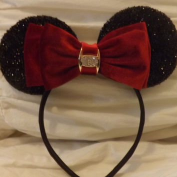 MINNIE MOUSE EARS Headband Black Sparkle with red velvet bow accented with faux diamond  luxury edition