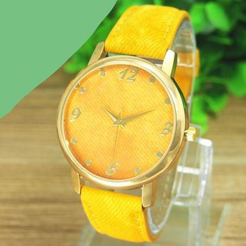 GENVIVIA New Promotion Relojes 1pcs/lot Casual Ladies Denim Cloth Alloy Dress Watches Woman Wrist Watch For Women #LD