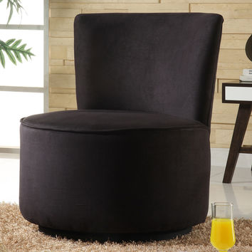 TRIBECCA HOME Moda Black Microfiber Modern Round Swivel Chair | Overstock.com Shopping - The Best Deals on Living Room Chairs