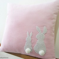 Two Little Lovely Rabbits Soft Pink Pillow Cover. Spring Summer Bunny. Pom Pom Appliques